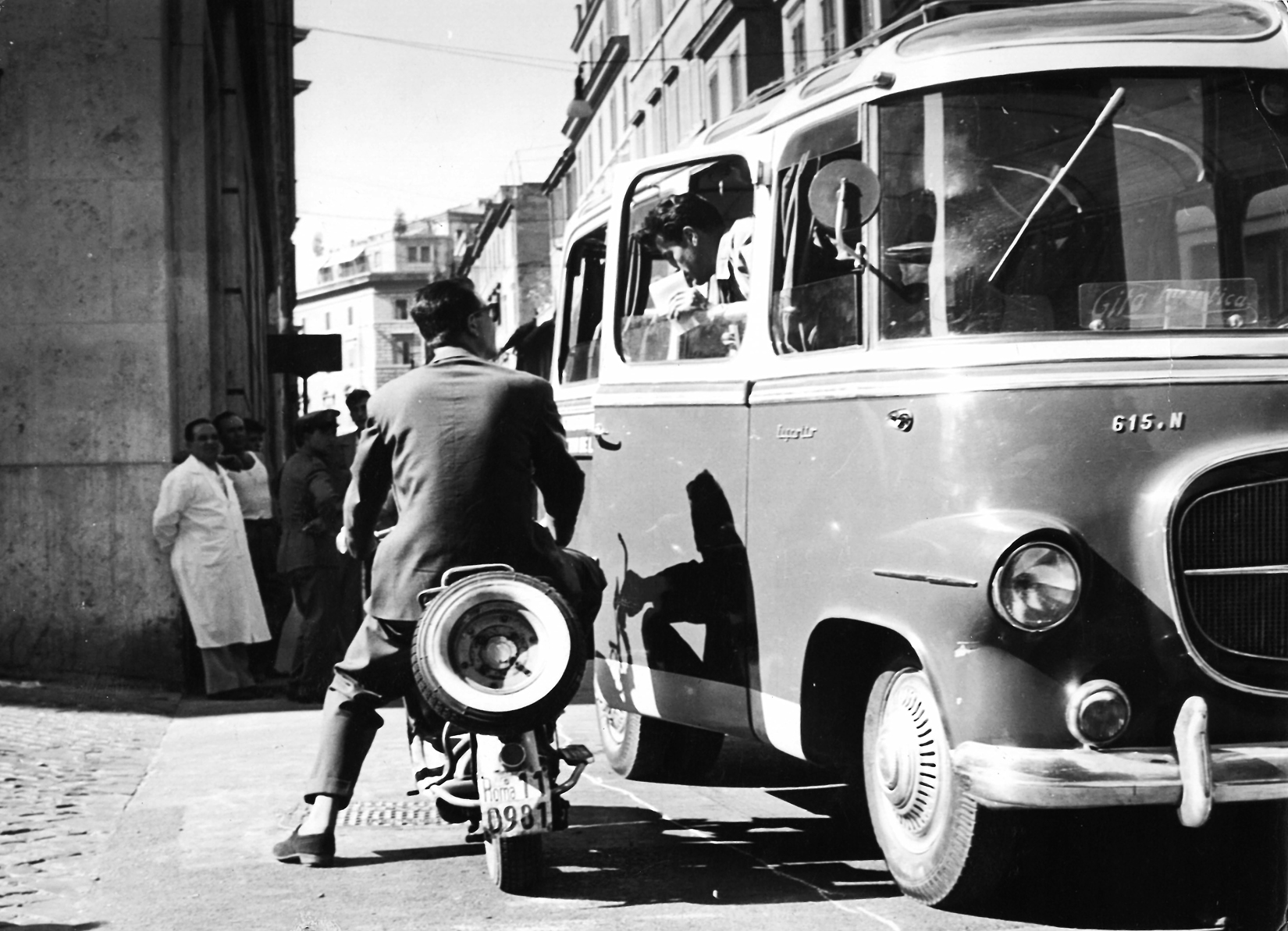 Amedeo during the 60's. Tour starting in minibus