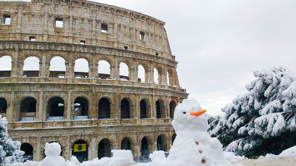 Snowman in front of the Colosseum