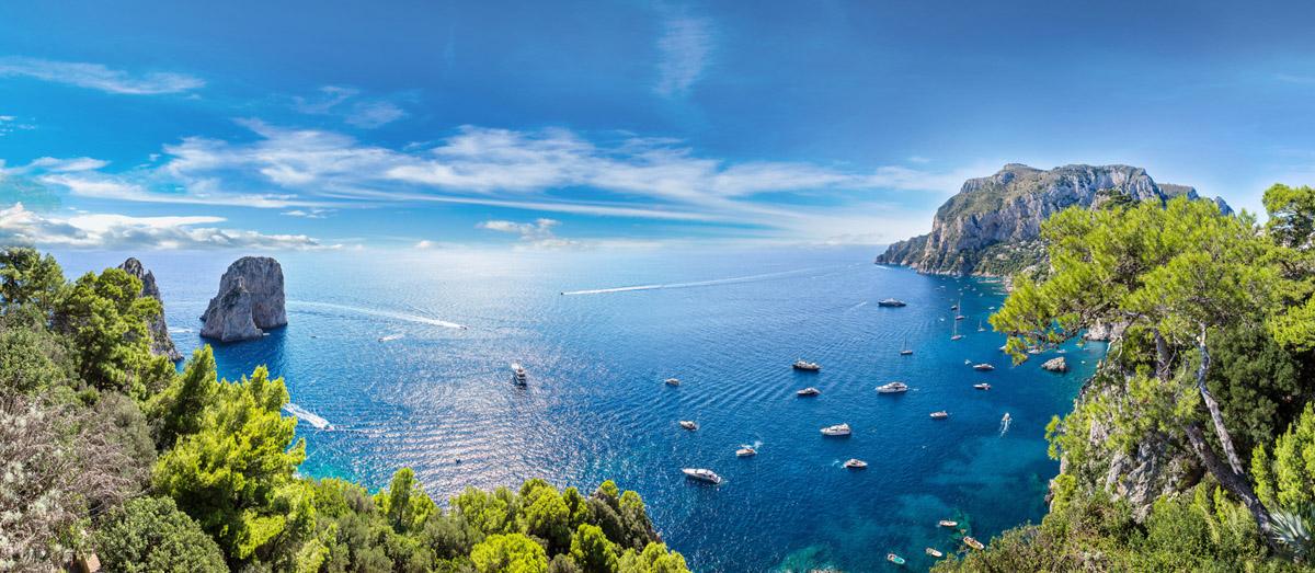 Panoramic View of the Faraglioni and the Coast in Capri